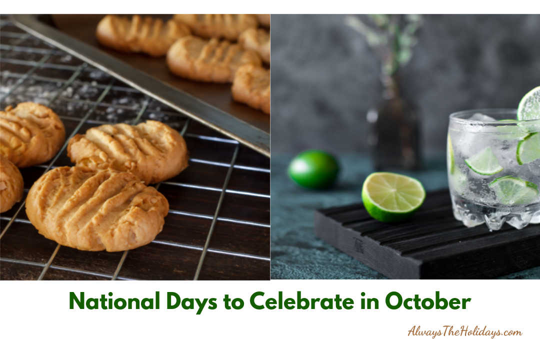 Glass of vodka and homemade cookies with words. National Days to Celebrate in October.