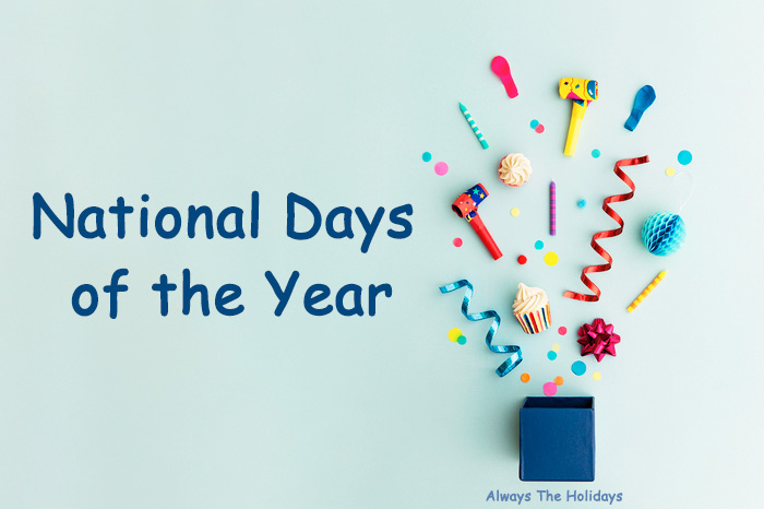 "A flatlay of celebratory items with a text overlay reading ""National Days of the Year""."