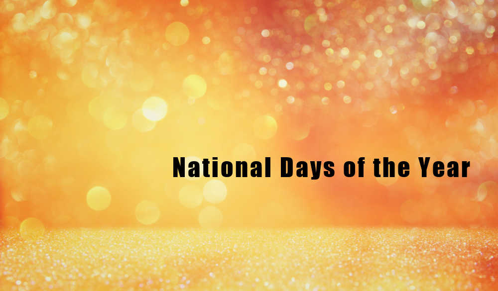 Orange bokeh background with words national days of the year.