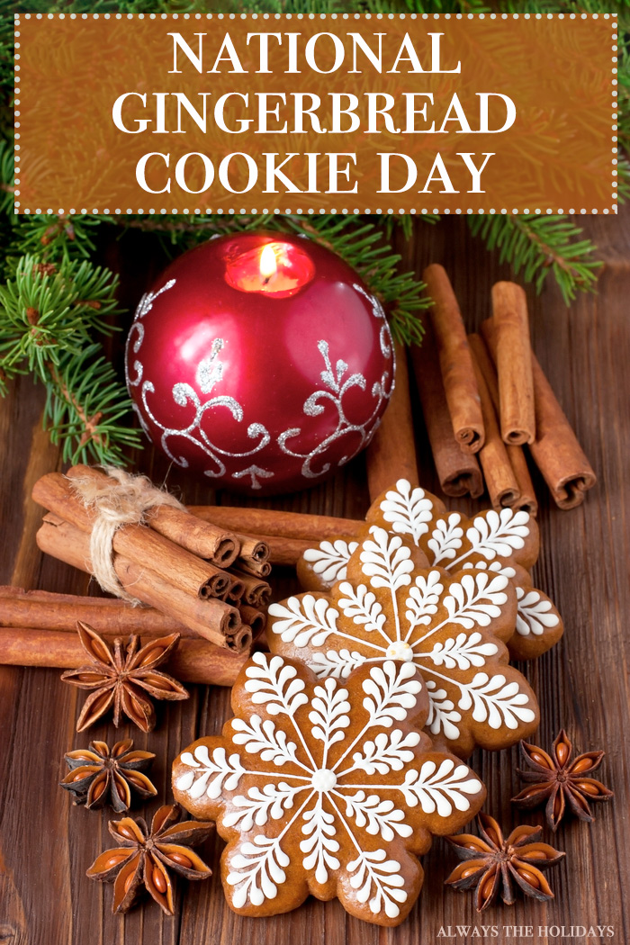 """Snowflake shaped gingerbread cookies on a table next to Christmas spices with a text overlay that reads """"National Gingerbread Cookie Day""""."""
