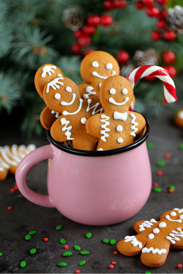 Four gingerbread cookies and a candy cane in a pink mug in front of a backdrop of Christmas tree branches.