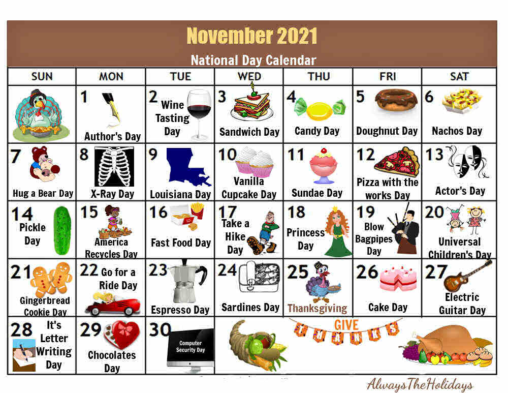 Calendar with icons and words November 2021 National Day Calendar.