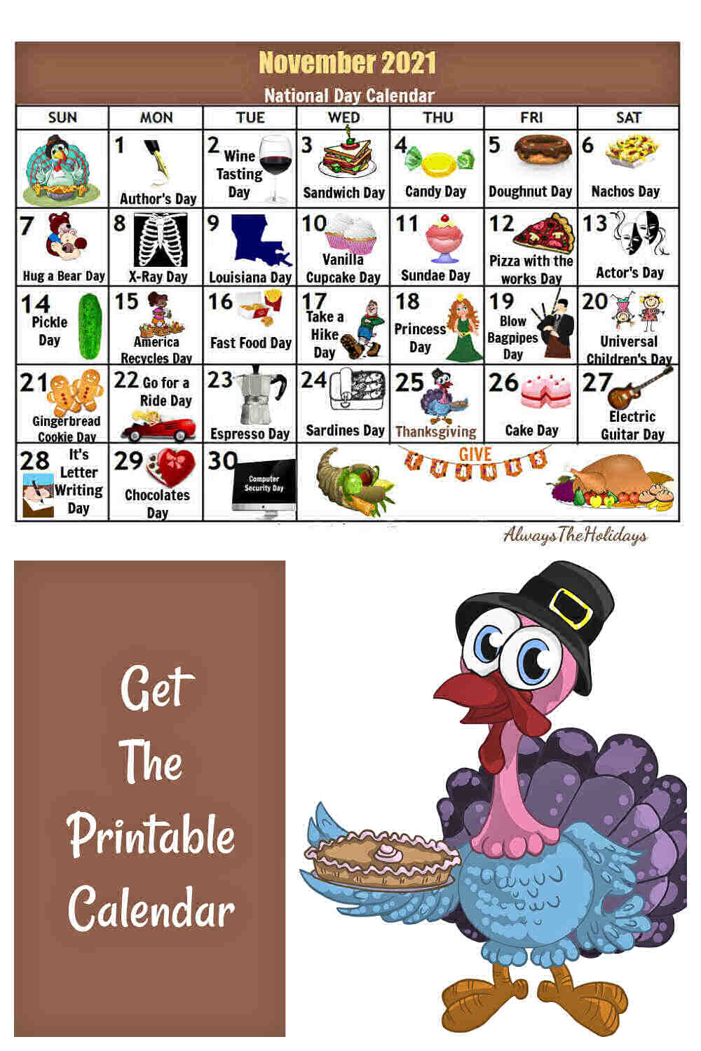 Calendar with icons and turkey with pie and words Get the printable calendar.