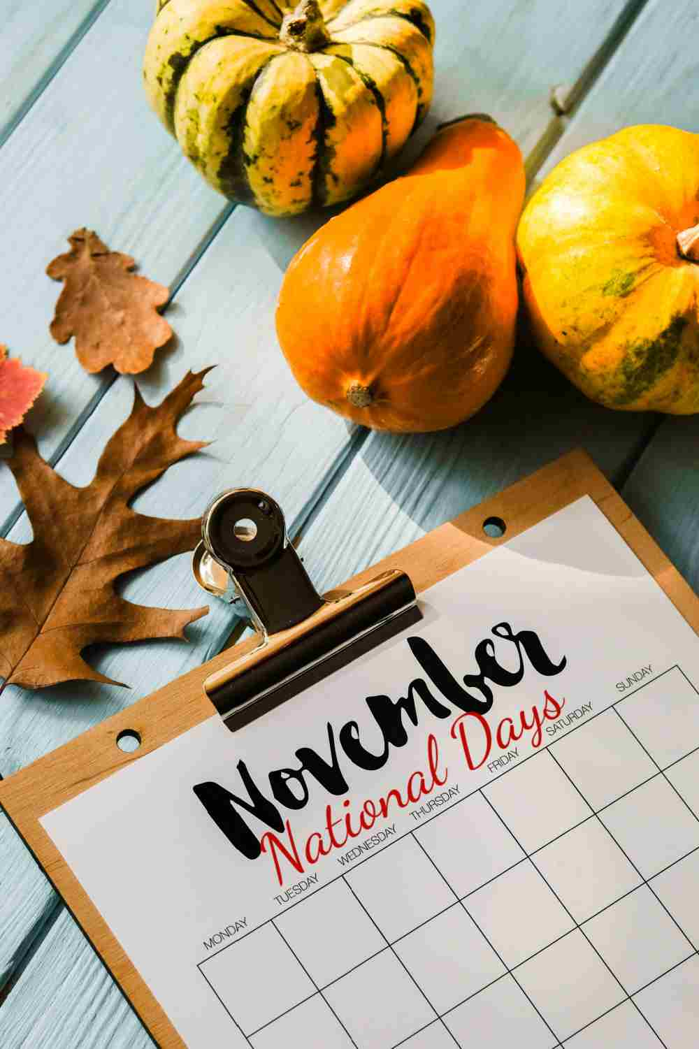 Pumpkins and leaves with a calendar of November National Days..