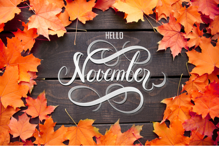 "A text overlay reading ""Hello November"" on a wooden background with orange leaves around it."
