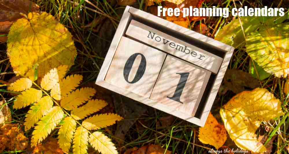 Fall leaves and block calendar with words free planning calendars.