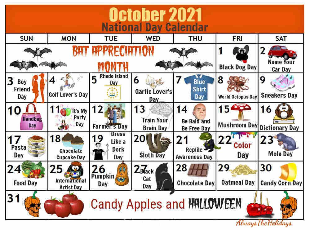 Calendar with icons and Words October 2021 National Day Calendar.