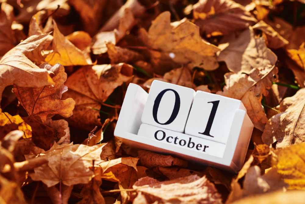 October calendar on a pile of autumn leaves.