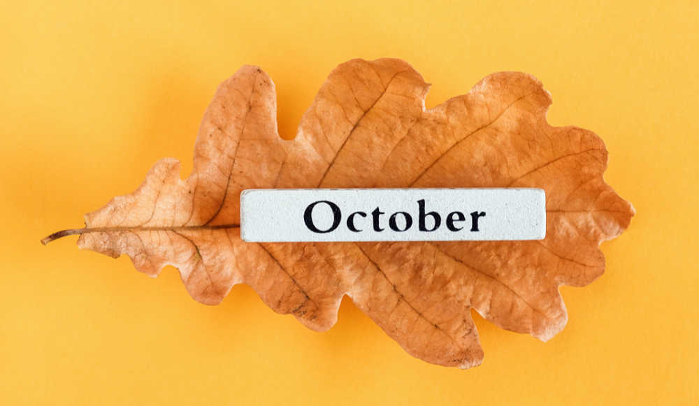 Autumn leaf with the words October on it.