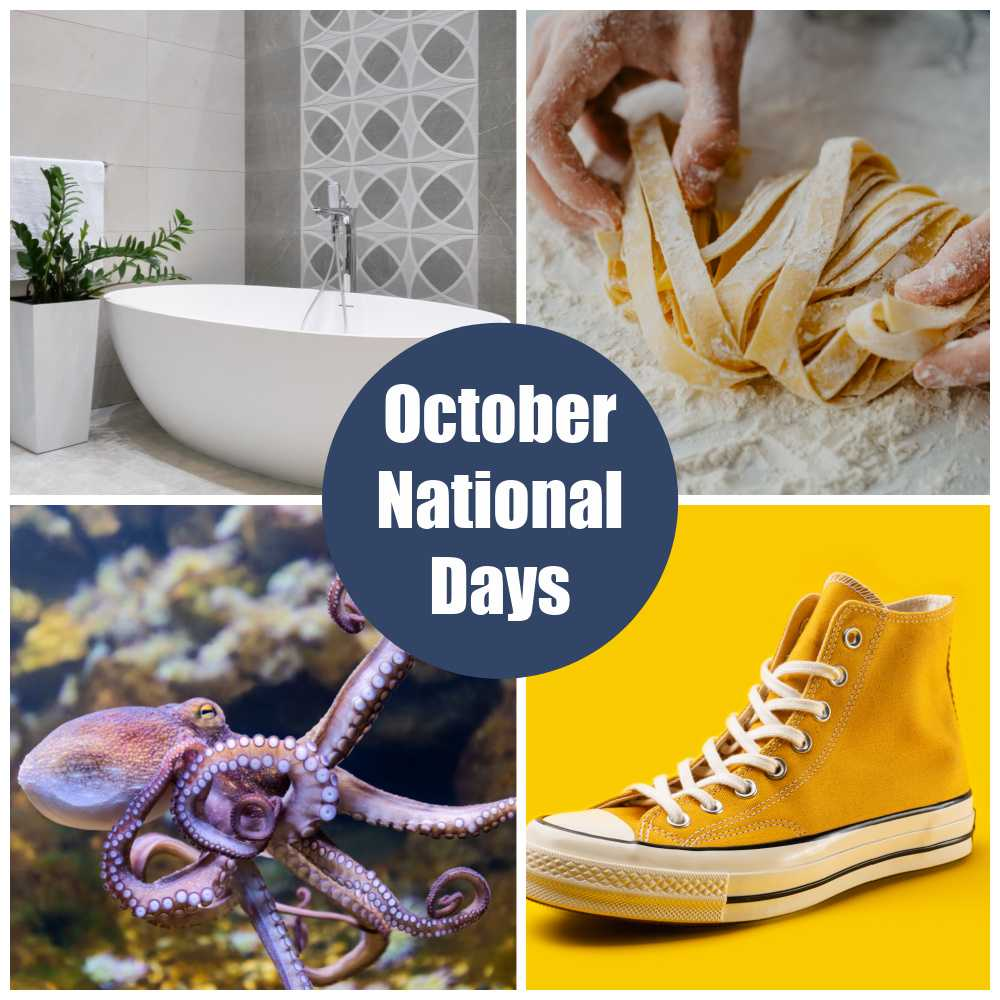 Bathtub, pasta making, octopus, and yellow sneaker in a collage with words October National Days.