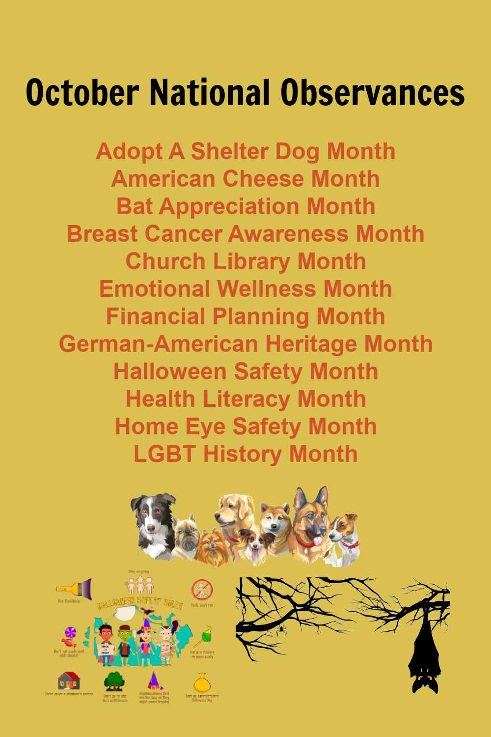 October national observances with dogs, Halloween and bat images.