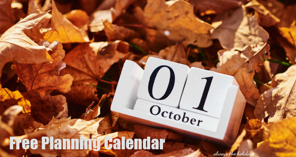 Leaves with block calendar for October and words Free Planning Calendar.