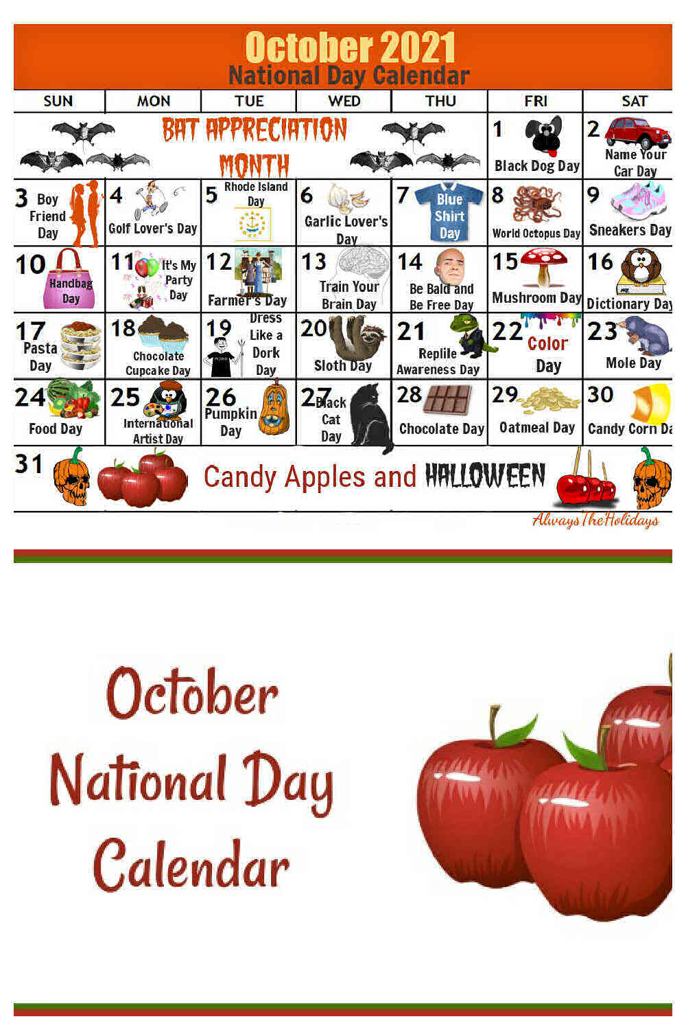 Apples and words October National Day Calendar with calendar above it.