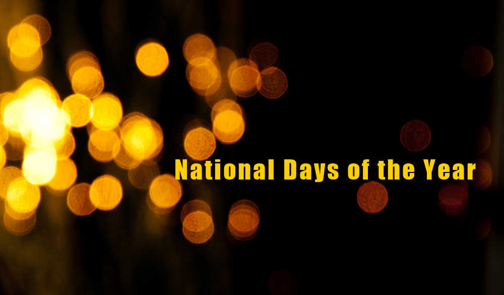 Orange and black bokeh background with words National Days of the Year.
