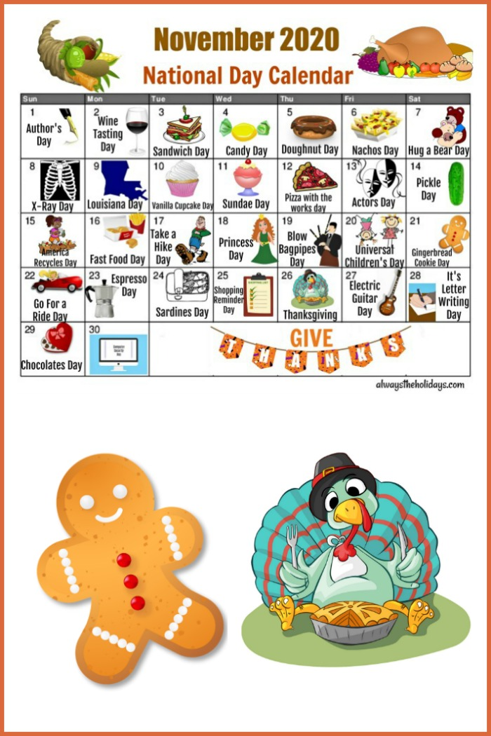 Printable calendar for the National Days in November with a gingerbread cookie and turkey image.
