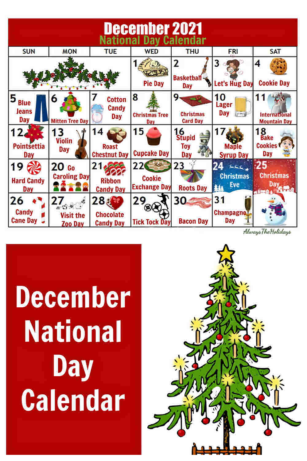 Calendar and Christmas tree with words December National Day Calendar.