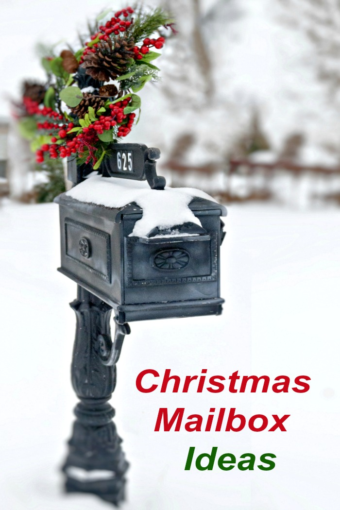 """Black mailbox with wreath and text reading """"Christmas mailbox ideas."""""""
