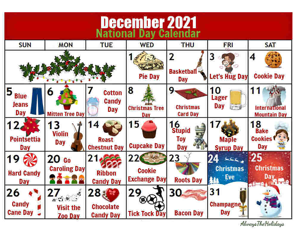 Printable calendar with images and words December 2021 National Day Calendar.
