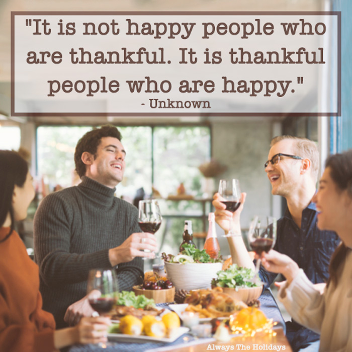 A table of friends laughing and having dinner with a thankful quotes for Thanksgiving text overlay.