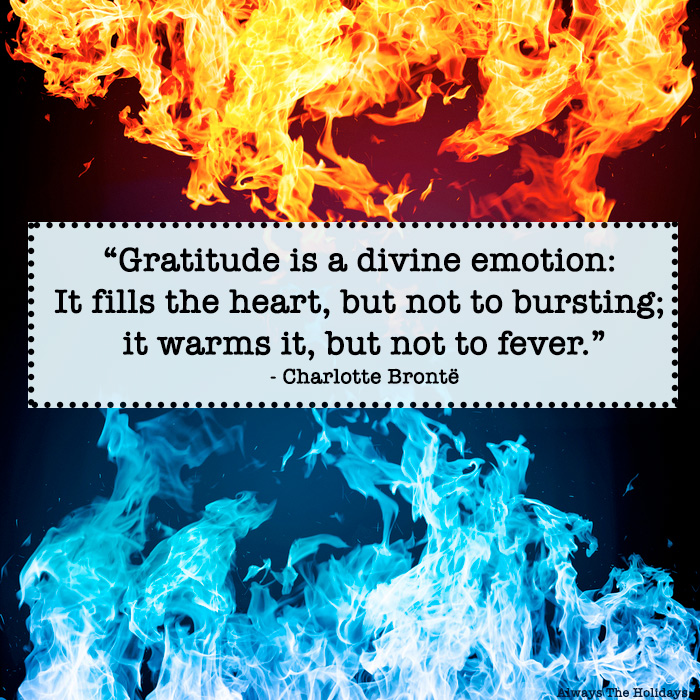 A gratitude quote for text overlay over orange and blue fire.