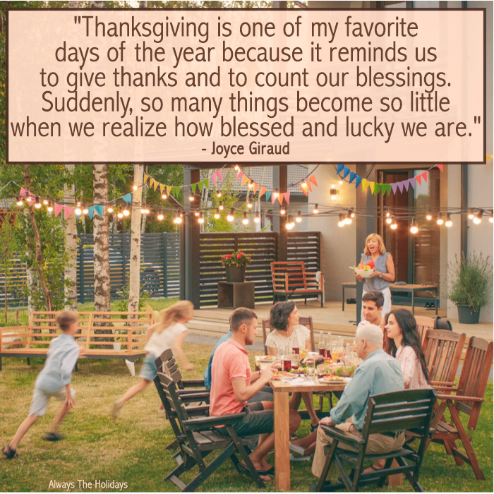 A family sitting around a table in the backyard with two children running and a text overlay.