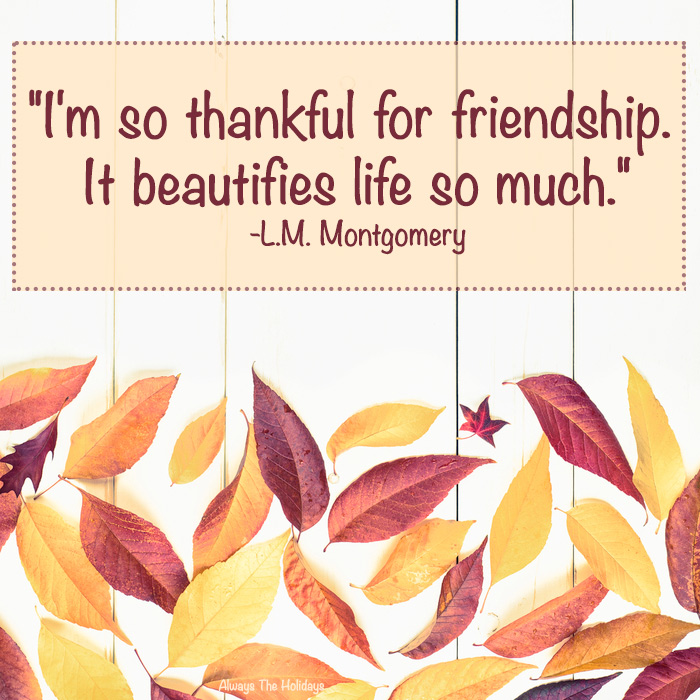 "Leaves on a white board with the Thanksgiving quote for friends reading ""I'm so thankful for friendship. It beautifies life so much."" in a text overlay."