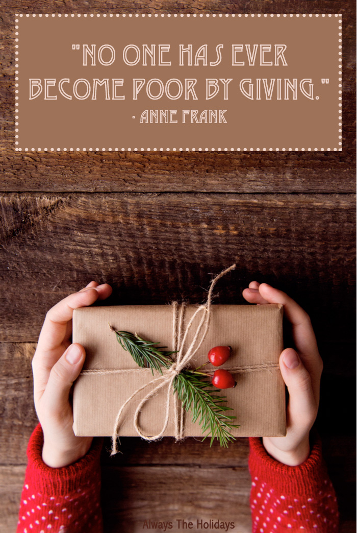 "A person's hands holding a present wrapped in paper tied with a string, a sprig of rosemary and berries with an inspirational Thanksgiving quotes overlay reading ""no one has ever become poor by giving.""."