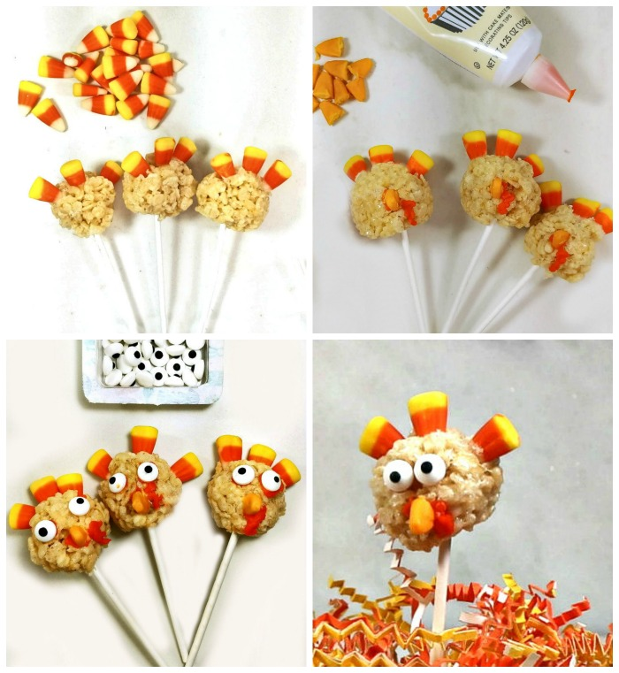 Adding candy corn, frosting and edible eyes to Rice Krispie balls to form turkey shapes.