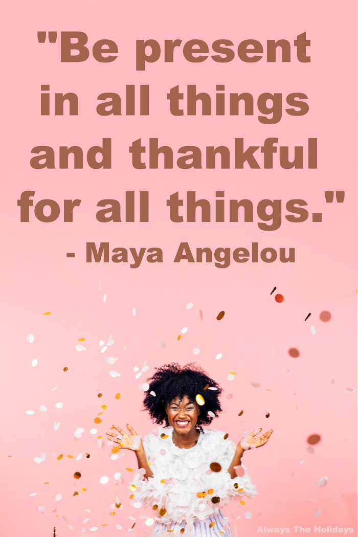 A woman throwing confetti in the air against a pink wall with a Maya Angelou quote about gratitude in a text overlay on top of the image.