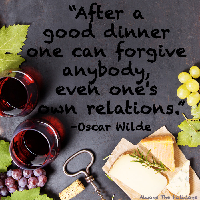 A slate background with wine and cheese around the border, and a Thanksgiving quote for family in the center of the photo.