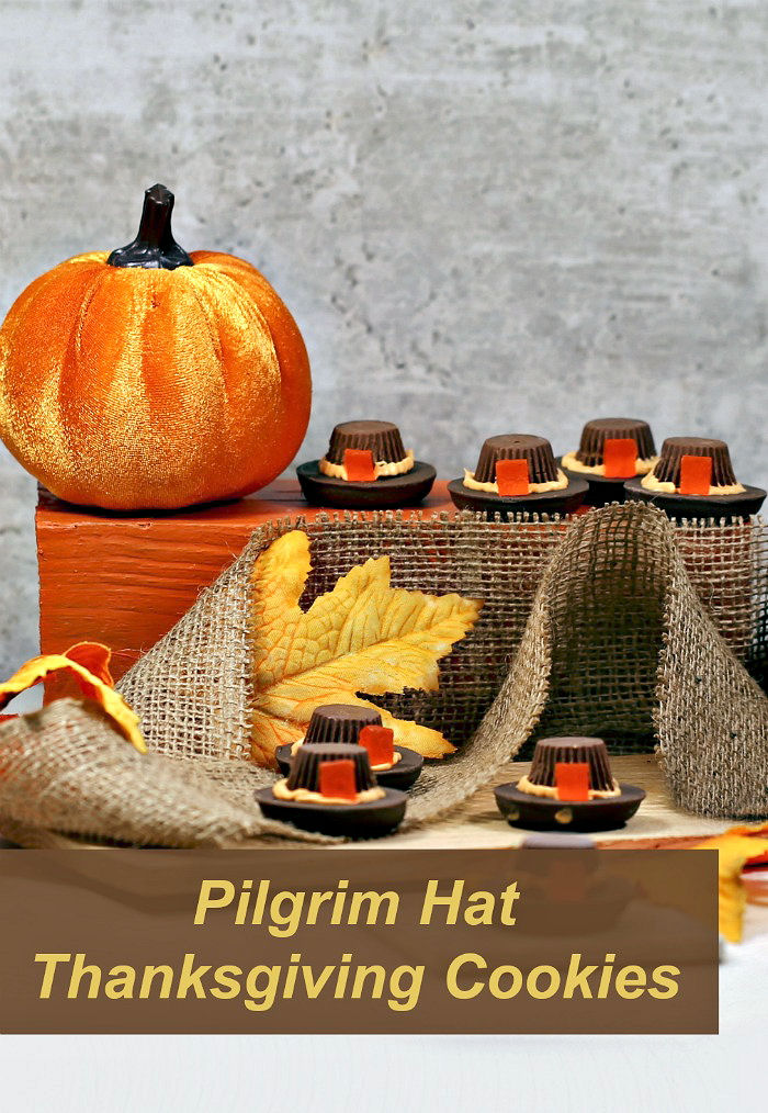 """Thanksgiving display with pumpkins, burlap and leaves and words reading """"pilgrim hat Thanksgiving cookies."""""""