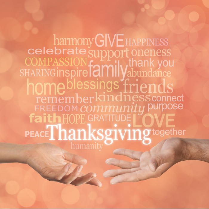 Two hands reaching out to each other with the many words about Thanksgiving, hope, love, and gratitude above them.