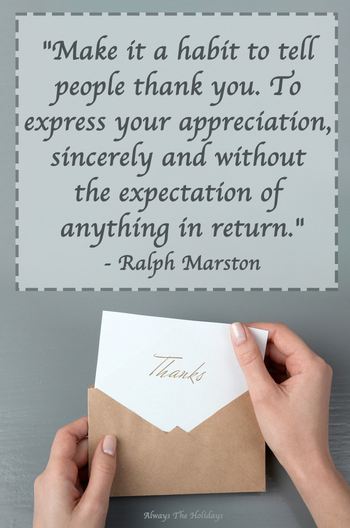 Hands taking a thank you note out of an envelope with a Thanksgiving quote text overlay about gratitude.