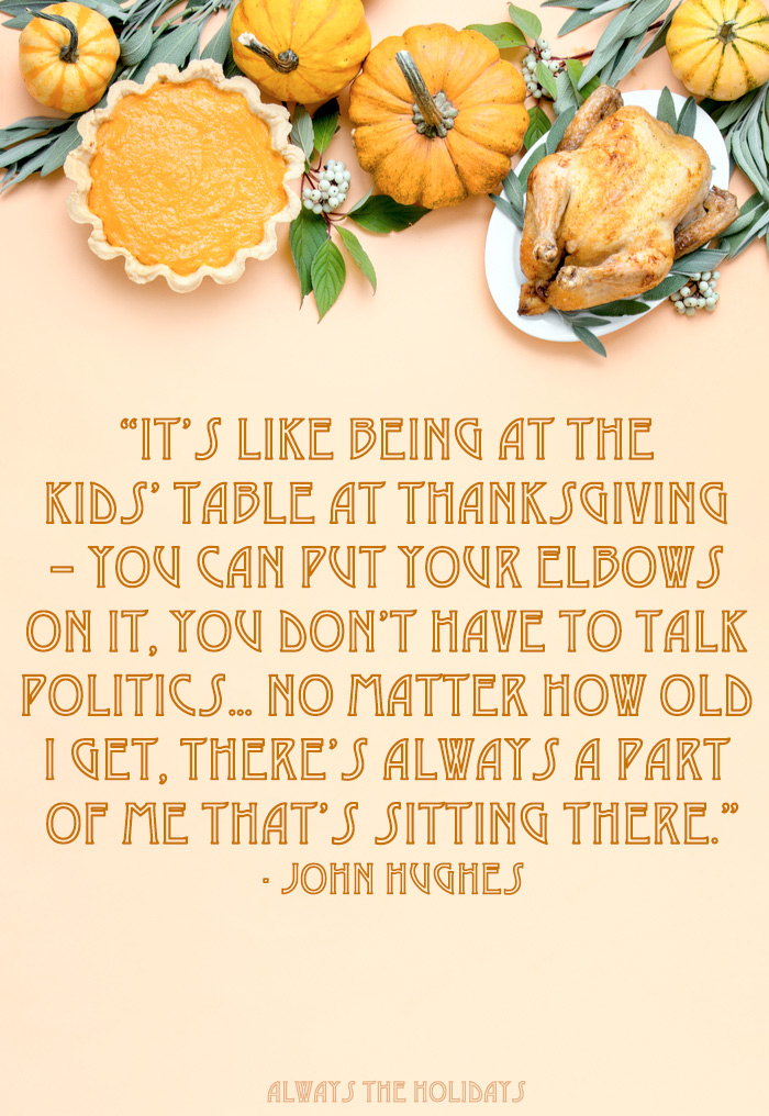 A peach background with a top border of Thanksgiving foods and a Thanksgiving quotes about family in a text overlay.