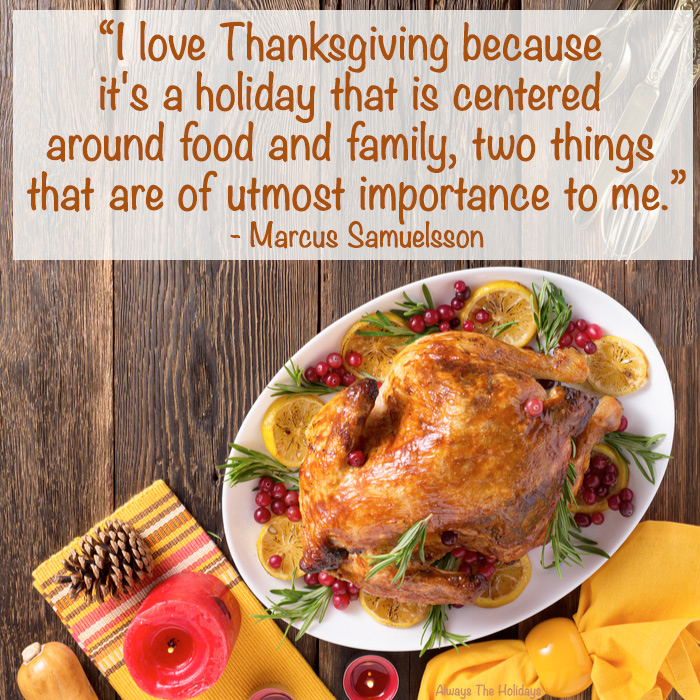 A festive Thanksgiving turkey with fall decor around it and a Thanksgiving quotes for family in a text overlay.