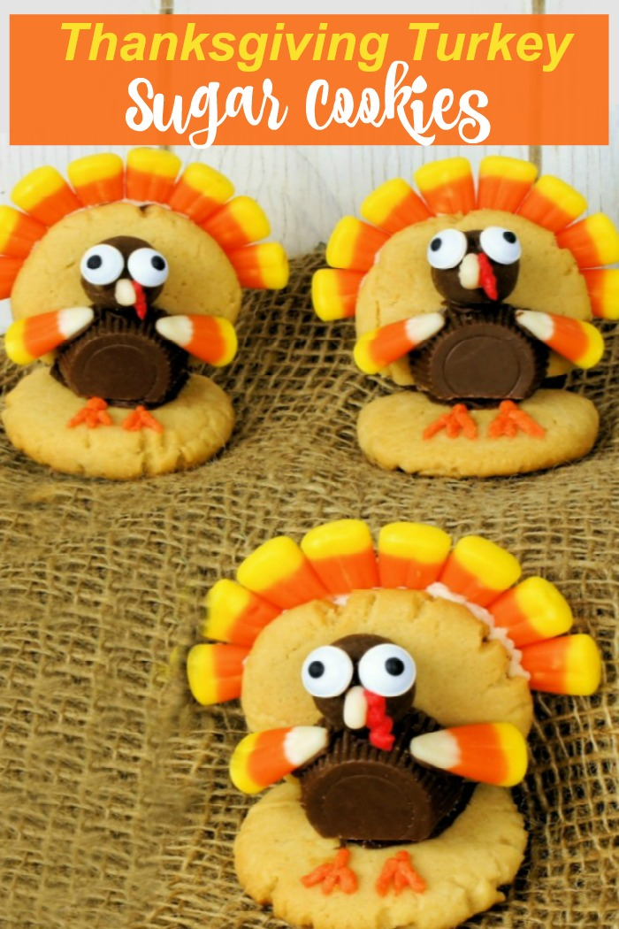 """Three turkeys made of peanut butter cups, malted milk balls and candy corn with words reading: """"Thanksgiving turkey sugar cookies."""""""