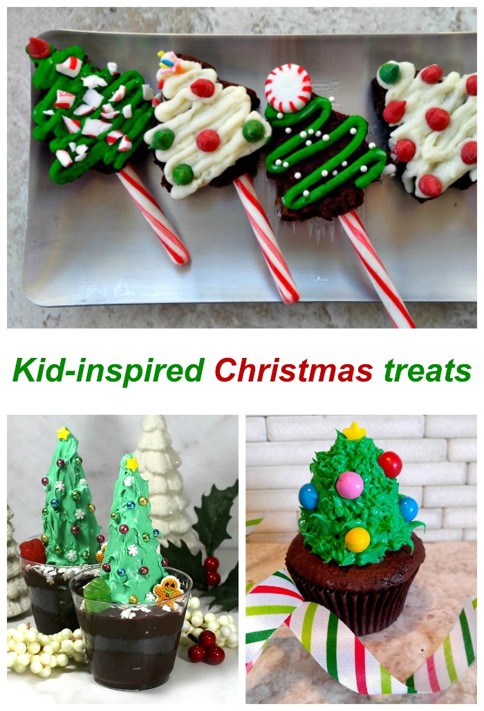 "Brownies, dirt cups and cupcakes decorated like Christmas trees with words reading ""Kid inspired Christmas treats.""."