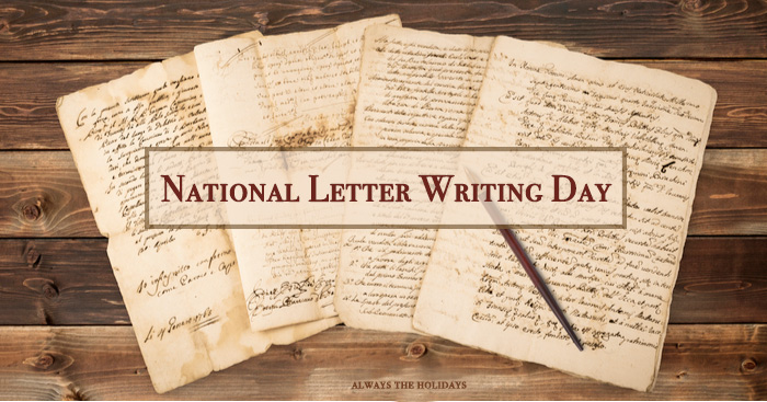 "Four vintage letters and an ink pen on a table with a text overlay reading ""National Letter Writing Day""."