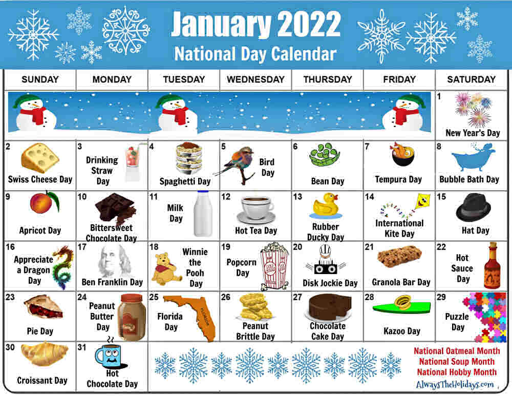 Calendar of National Days in January 2022.