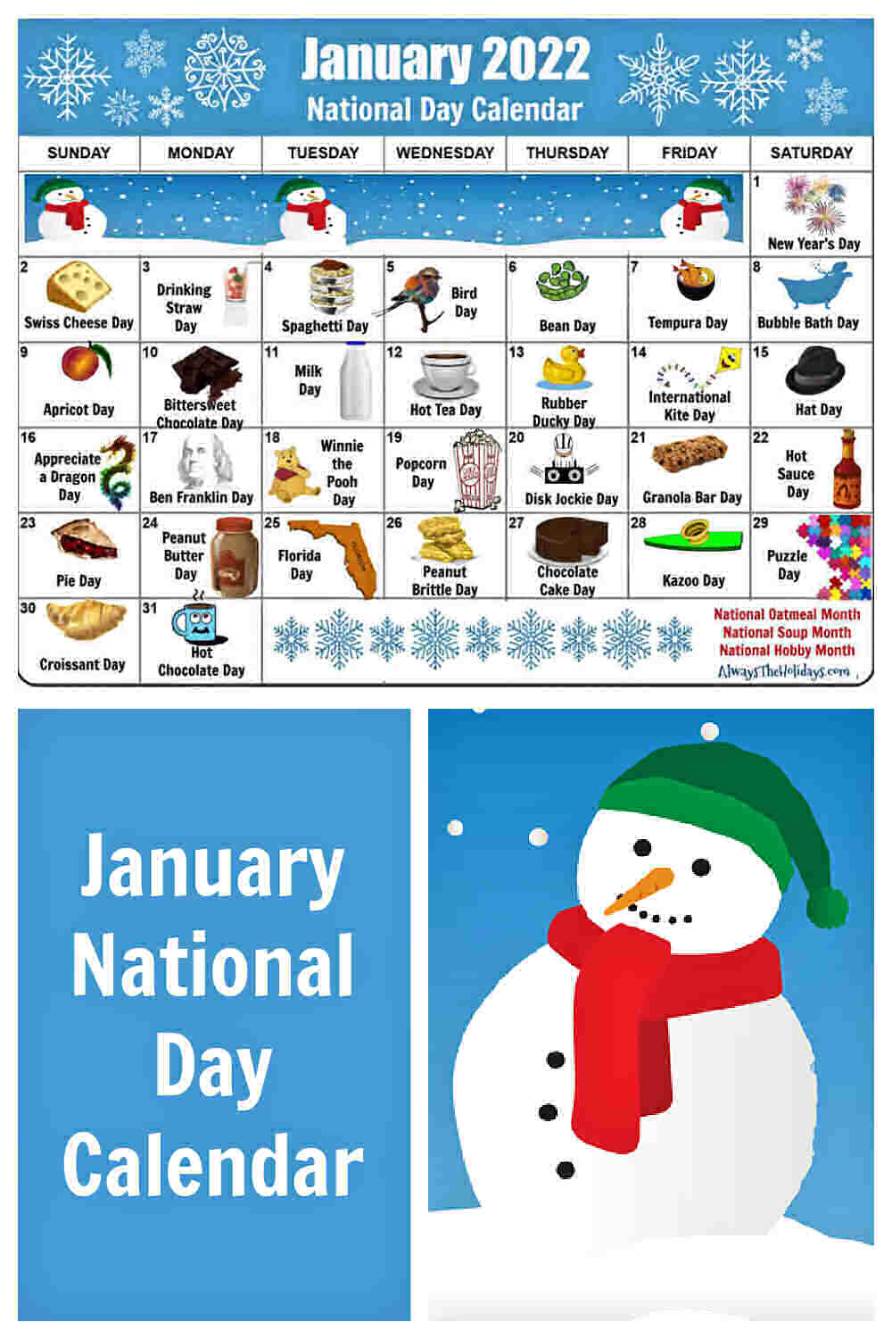 Calendar for January 2022 with snowman picture and words January National Day Calendar.