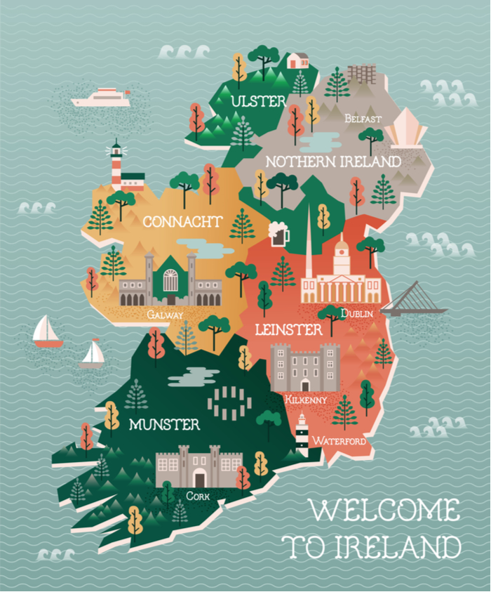 A cute cartoon map of Ireland with vector images on it.