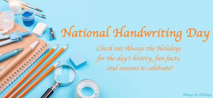 Pencils and other school supplies on a blue background with a text overlay for National Handwriting Day.