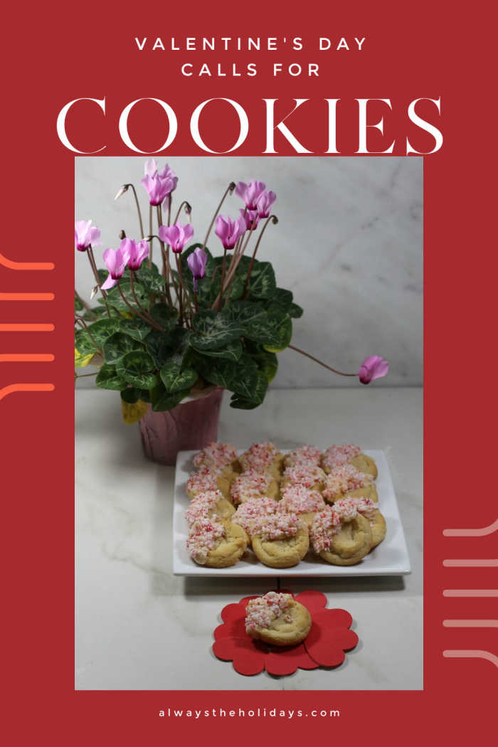 "Cyclamen plant with plate of cookies and words reading ""Valentine's Day calls for cookies"