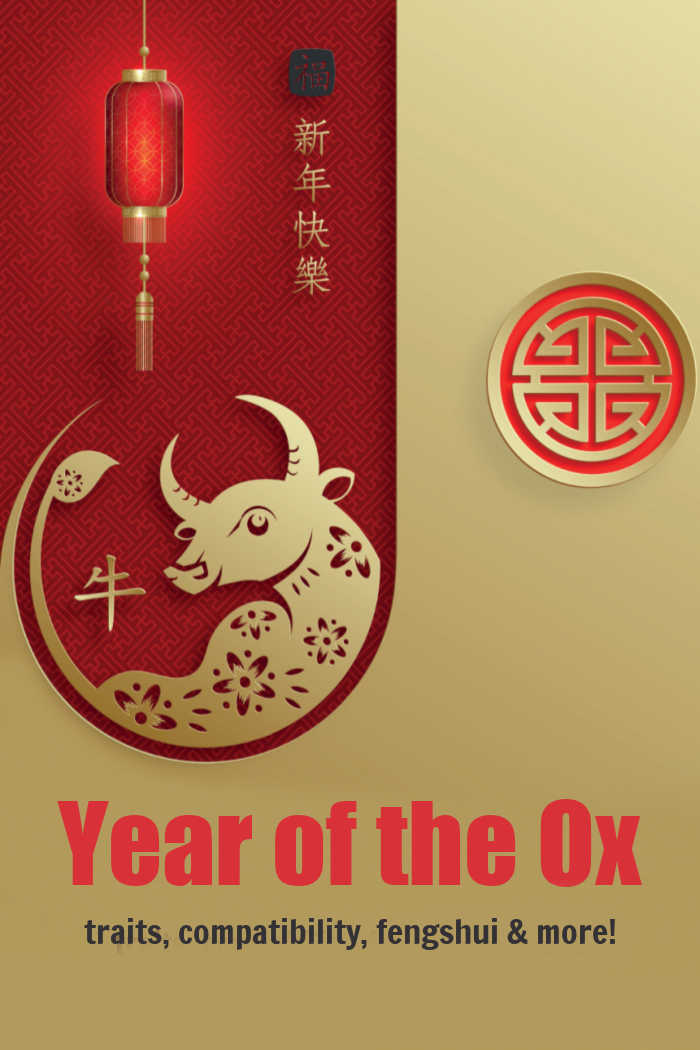 """Gold bull on a red inset with words reading """"Year of the Ox traits, compatibility, fengshui & more!"""""""