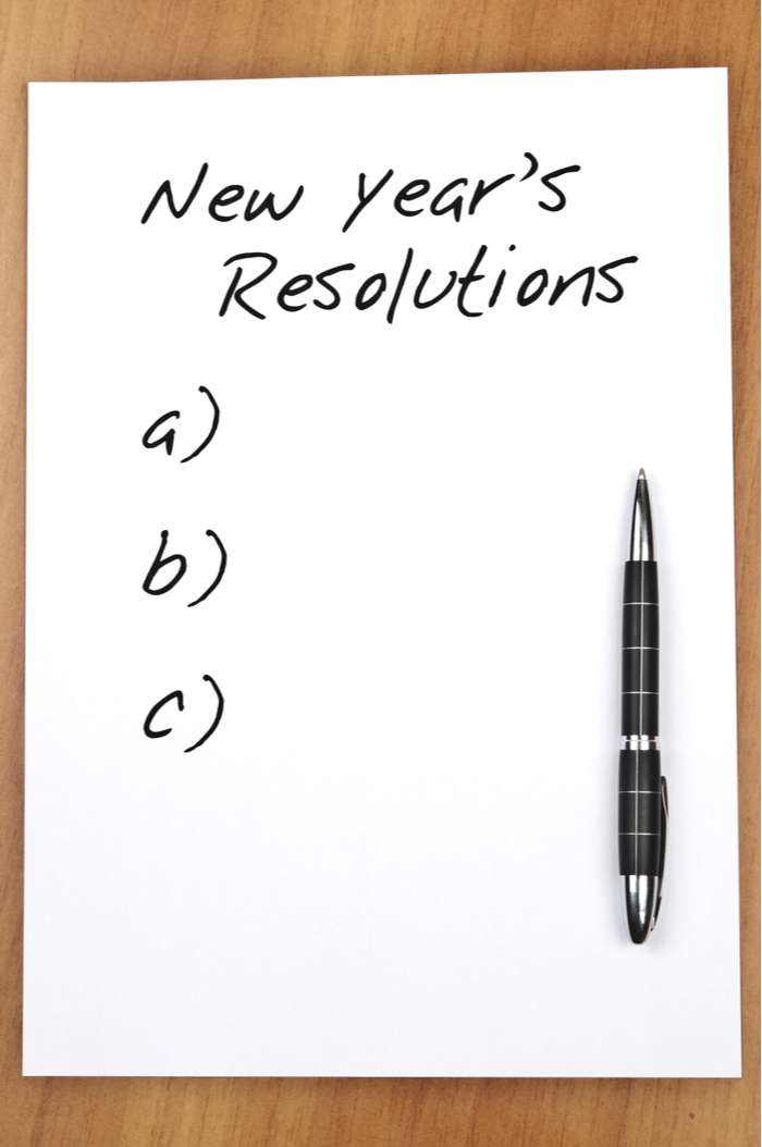 A blank New Year's resolution sheet that needs good New Year's resolution tips.