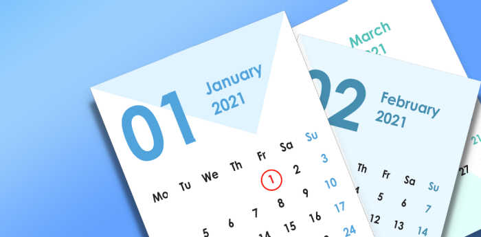 Calendar sheets on a blue background for 2021.