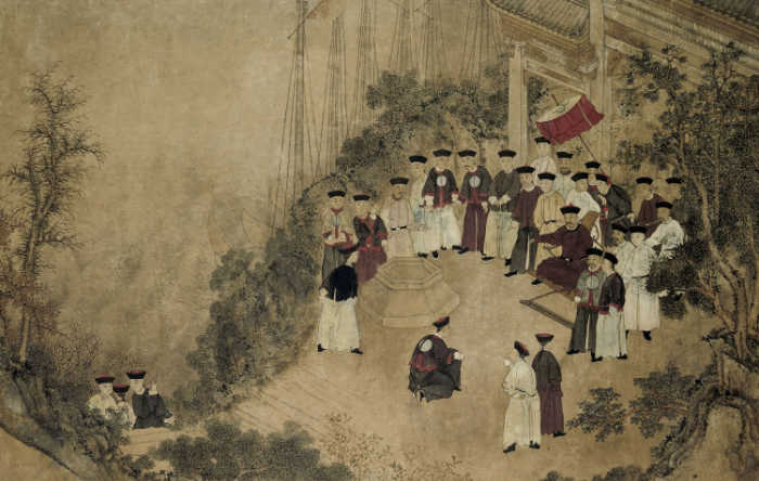 General Shi Lang with Company Officials at a Well on the Sea, by Anonymous Chinese artist, 18th century
