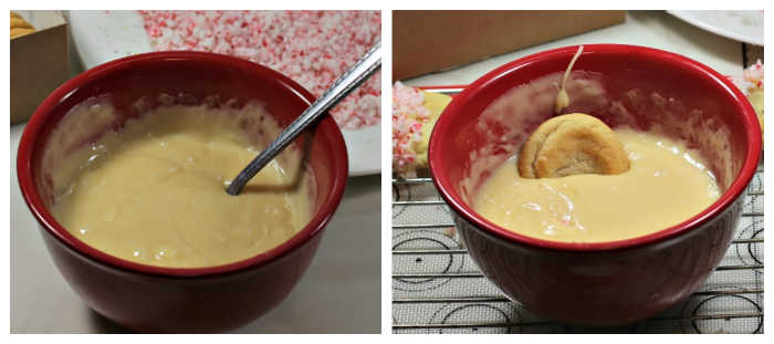 ;Melted white chocolate in a bowl and cookie dipped in white chocolate.
