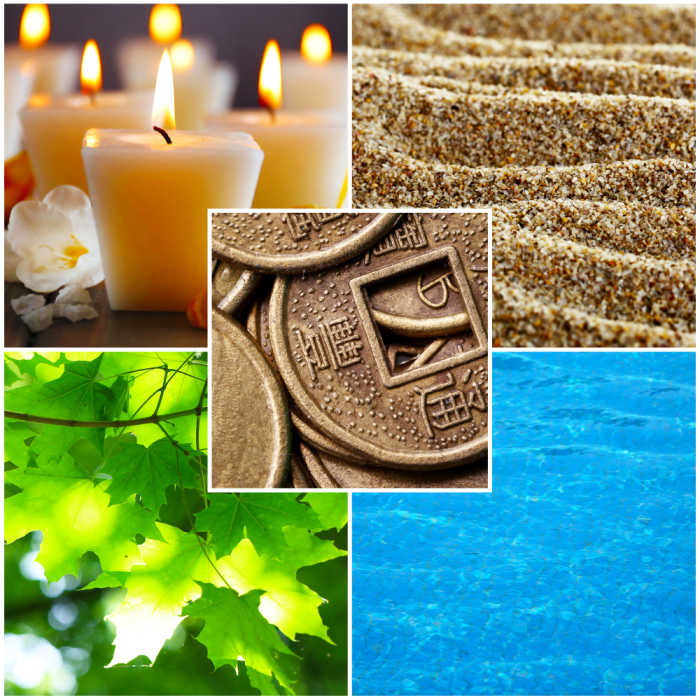 A collage of Feng Shui destructive cycle with five elements (water, wood, fire, earth, metal)