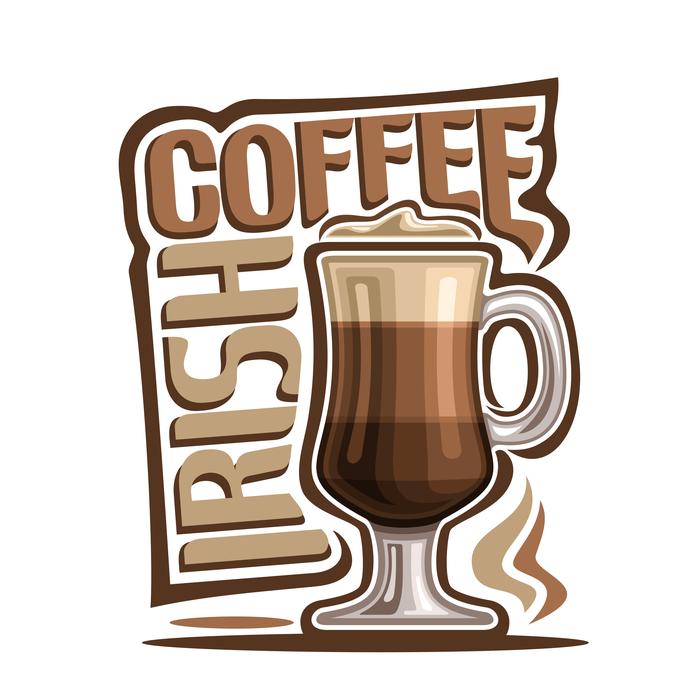 A cartoon vector image of Irish coffee.